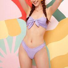 Bikini Badeanzug mit Geo Muster, Knoten vorn und hohem Ausschnitt