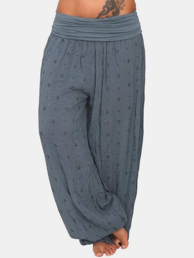 Loose Wide Leg Casual Print Elastic Waist Yoga Pants