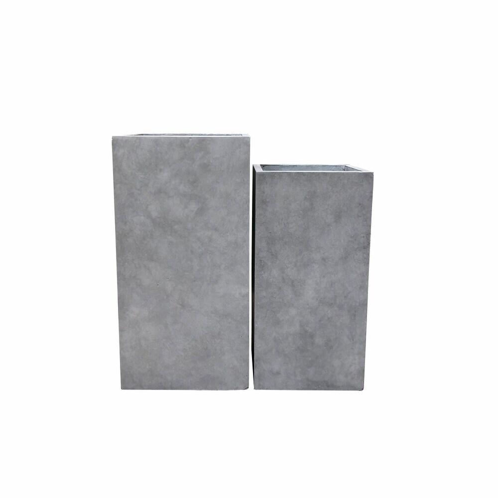 Kante Set of 2 Lightweight Modern TallSquare Outdoor Planters,Concrete - 14