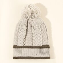 Two Tone Cable Knit Beanie