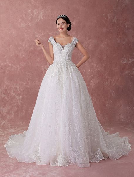 Milanoo Princess Wedding Dresses Ball Gowns Lace Beading Ivory Sequin Luxury Bridal Dress Chapel Train