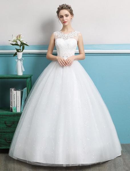 Milanoo Vestidos de novia de la princesa 2020 vestidos de tul sin respaldo rebordear vestido de novia de Largoitud de flor