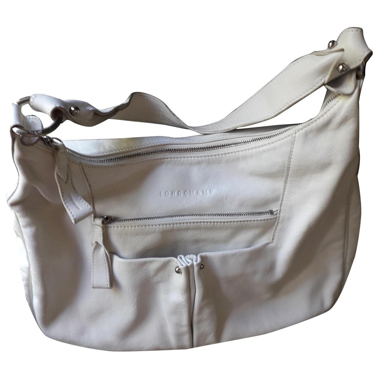 Longchamp - Sac a main   pour femme en cuir - blanc