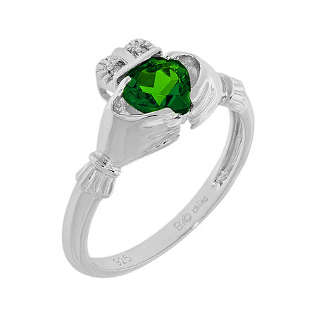 Heart-Shaped Lab-Created Emerald and Diamond-Accent Sterling Silver Claddagh Ring, 5 , No Color Family