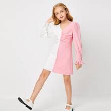 Vestidos para niñas Cremallera Monocolor Casual