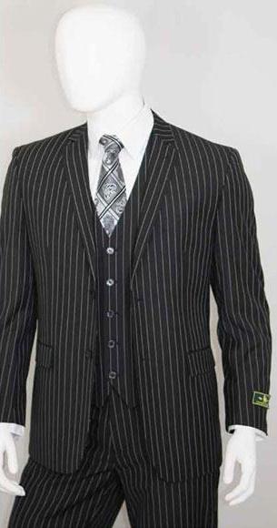 Men's Bold Chalk White Stripe 2 Buttons Vest 3 Pieces Jet Liquid Black