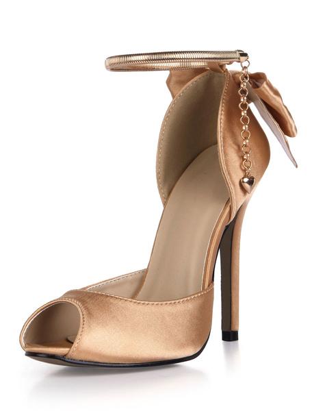 Milanoo Blue Wedding Shoes Satin High Heel Peep Toe Bow Ankle Strap Bridal Pumps
