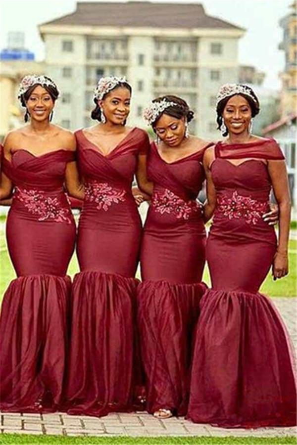 Sirena borgoña vestidos largos de dama de honor 2021 | Apliques baratos con cuentas de dama de honor