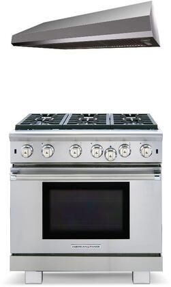 2 Piece Kitchen Appliances Package with ARROB636N 36 Gas Range and MAES3610SS600B 36 Under Cabinet Convertible Hood in Stainless