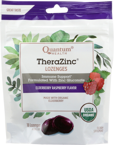 TheraZinc Organic Bagged Lozenges Elderberry and Raspberry 18 Count by Quantum Health