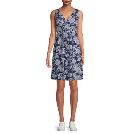 St. John's Bay Sleeveless Floral A-Line Dress, Medium , Blue