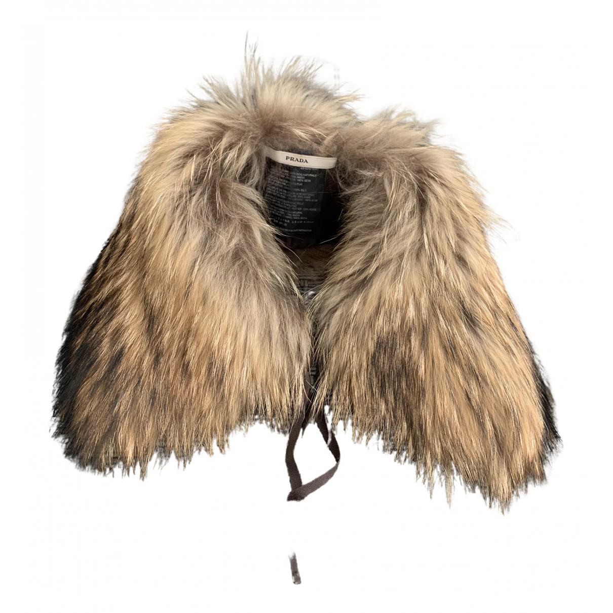 Prada N Brown Raccoon scarf for Women N