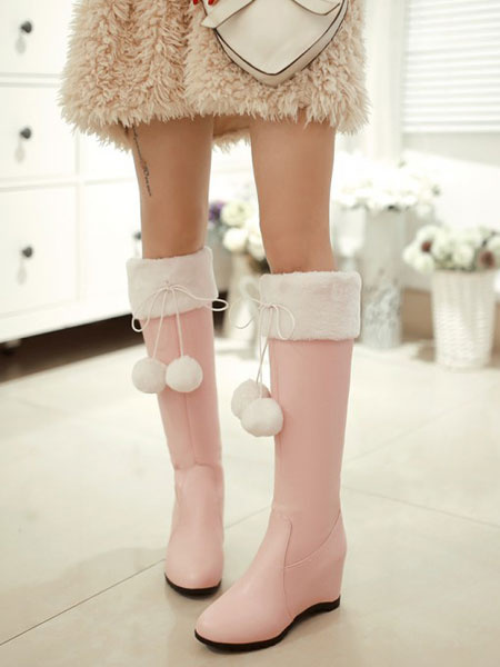 Milanoo Sweet Lolita Boots Wedge Heel Round Toe Two Tone Faux Fur Pink Lolita Knee High Boots