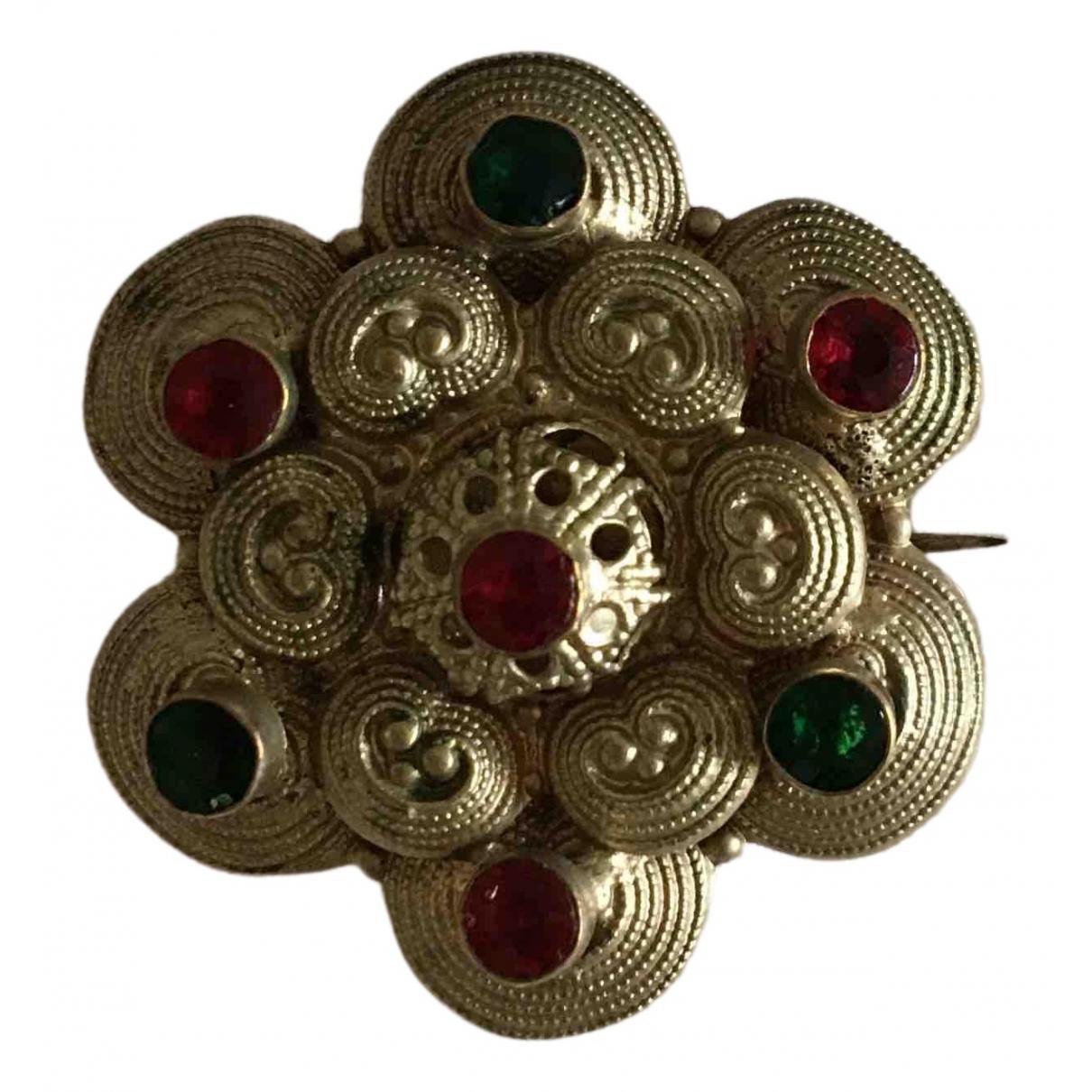 Non Signe / Unsigned Motifs Floraux Brosche in  Bunt Metall