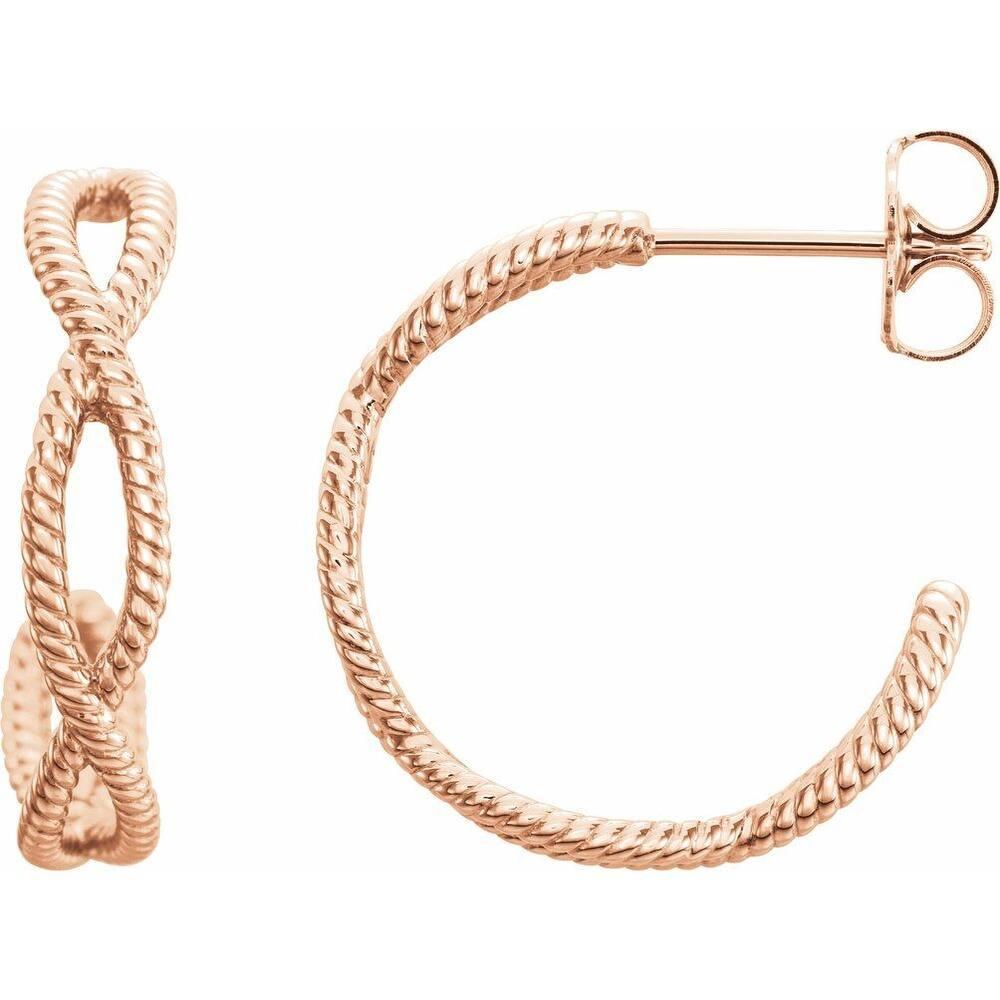 14K Rose Gold  17x3.6 mm Rope Hoop Earring for Women (Rose)