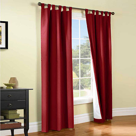 Weathermate Energy Saving Light-Filtering Tab-Top Set of 2 Curtain Panel, One Size , Red