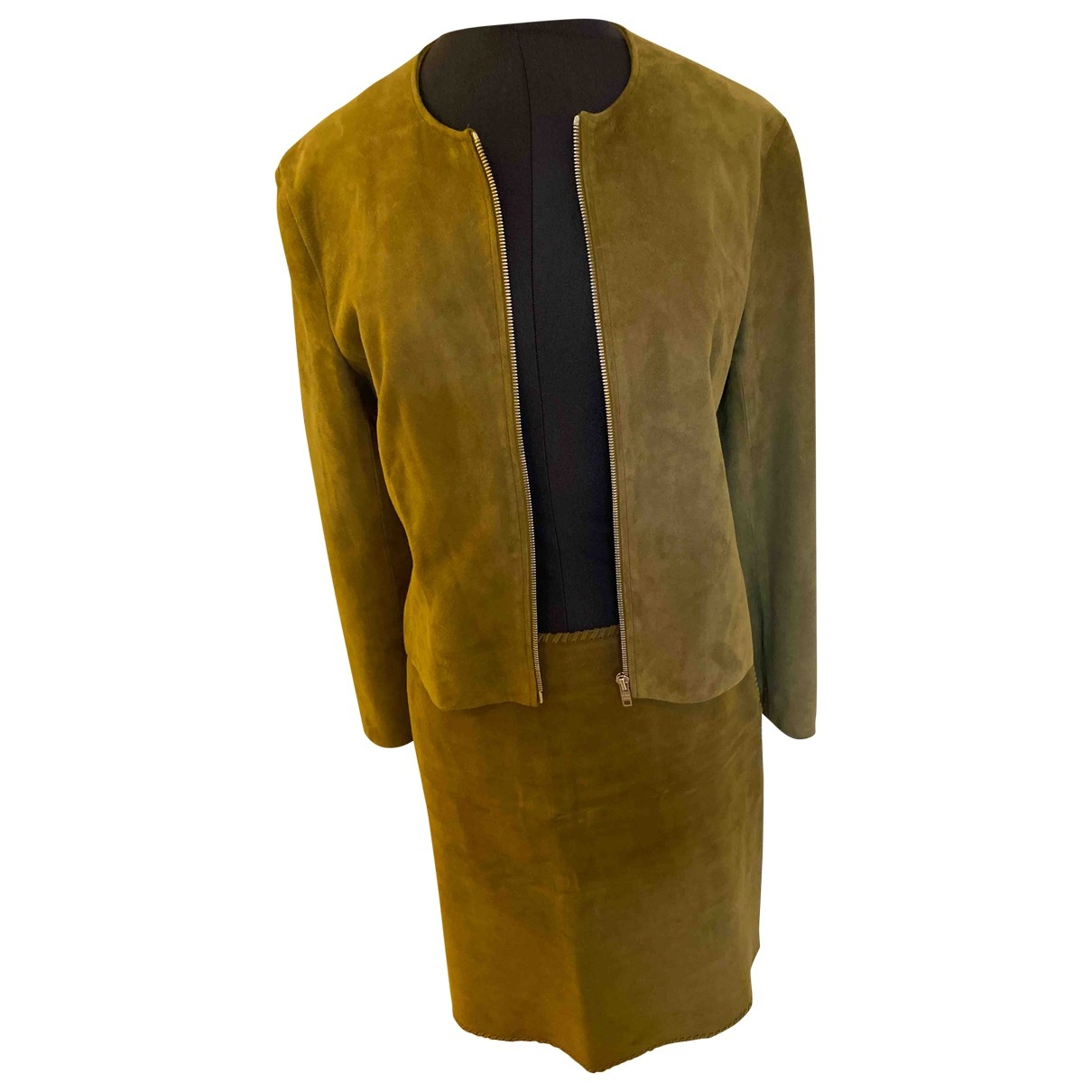 Celine \N Khaki Suede Leather jacket for Women 38 FR