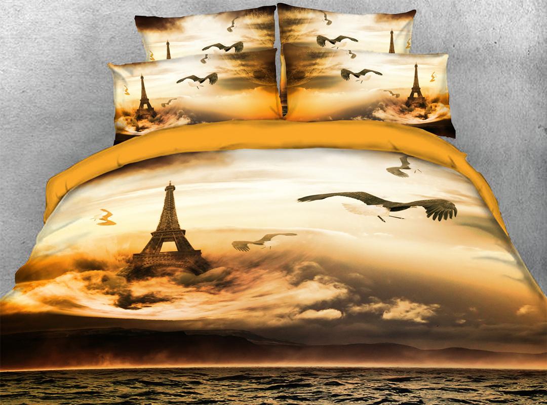 Effiel Tower and Storm 3D Comforter Soft Lightweight 5Pcs Scenery Comforter Sets
