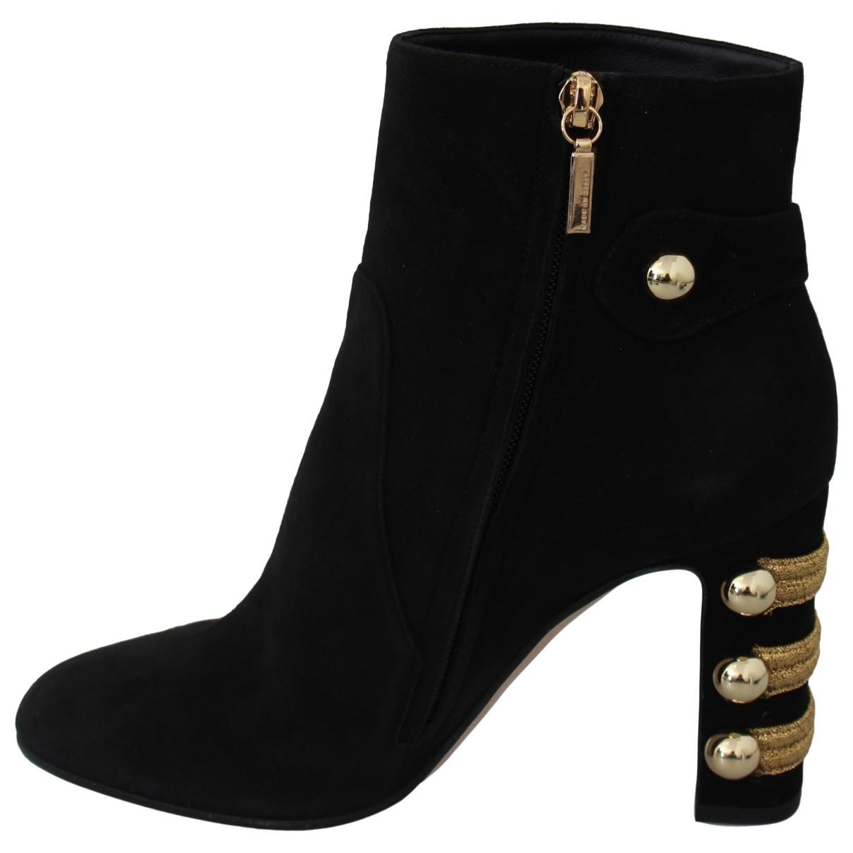 Dolce & Gabbana \N Stiefeletten in  Schwarz Veloursleder