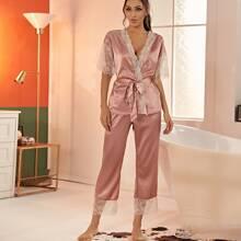 Satin Top mit Kontrast Spitze, Bogenkante, Guertel & Hose Schlafanzug Set