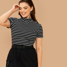 Plus Mock-Neck Short Sleeve Striped Top