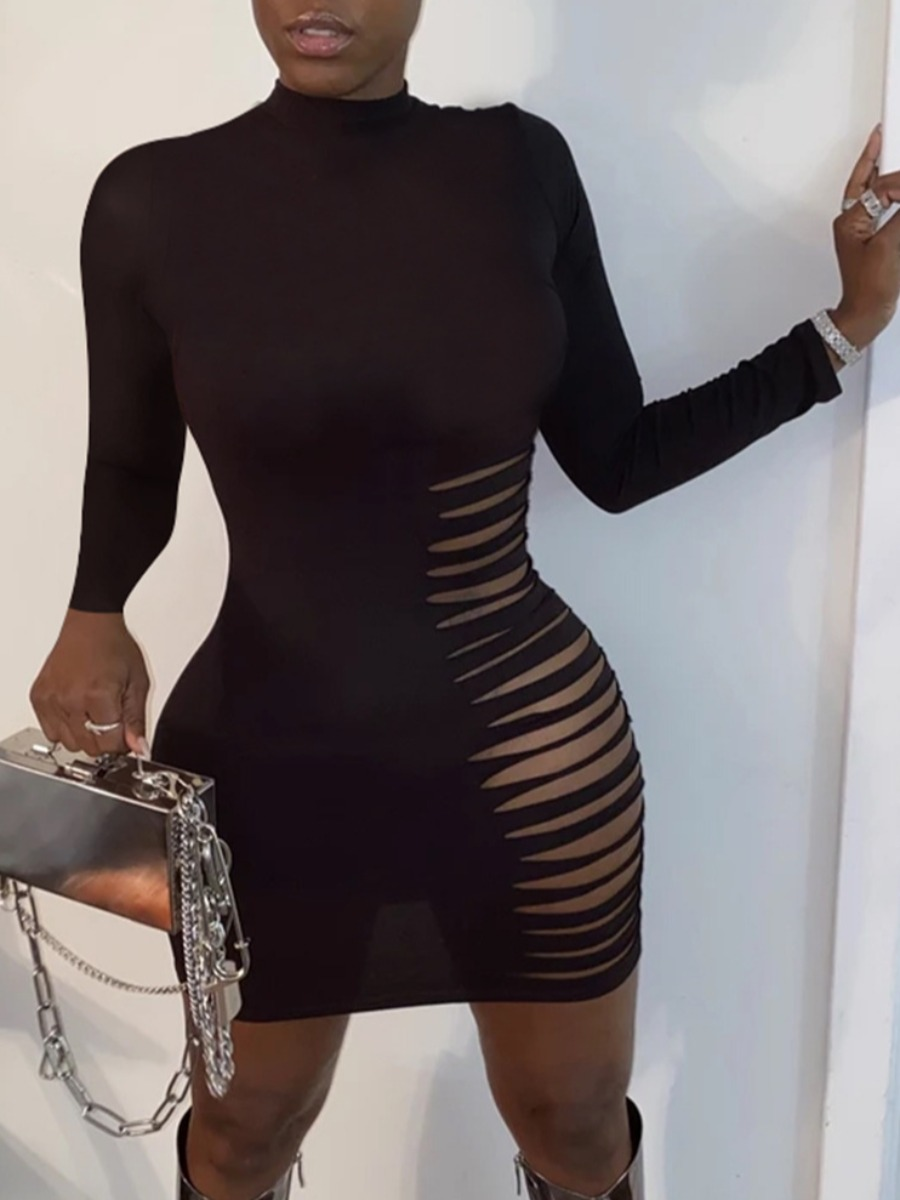 LW lovely Sexy Hollow-out Black Mini Dress