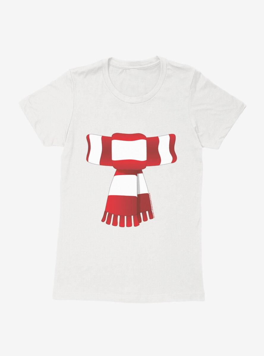 Emoji Holiday Icons Striped Scarf Womens T-Shirt