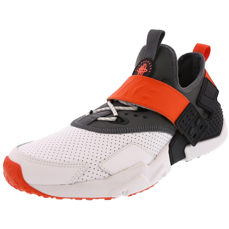 Nike Men's Air Huarache Drift Prm White / Dark Grey Rush Orange Ankle-High Leather Walking - 8M