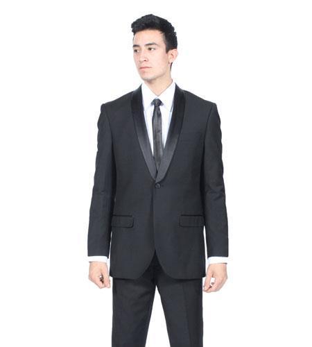 Mens All Black Shawl Collar Slim Fit 2 Piece Tuxedo Suit