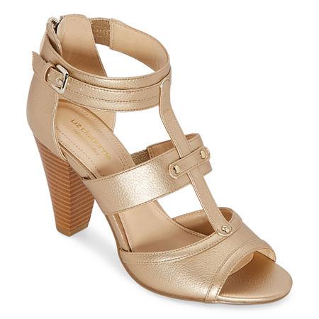 Liz Claiborne Womens Gaby Heeled Sandals, 8 Medium, Silver