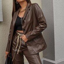 PU Leder Blazer mit Reverskragen und Taschen vorn