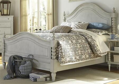 Harbor View III Collection 731-BR-QPS Queen Poster Bed with Molding Details  Distressed Finish and Bun Feet in Dove Gray