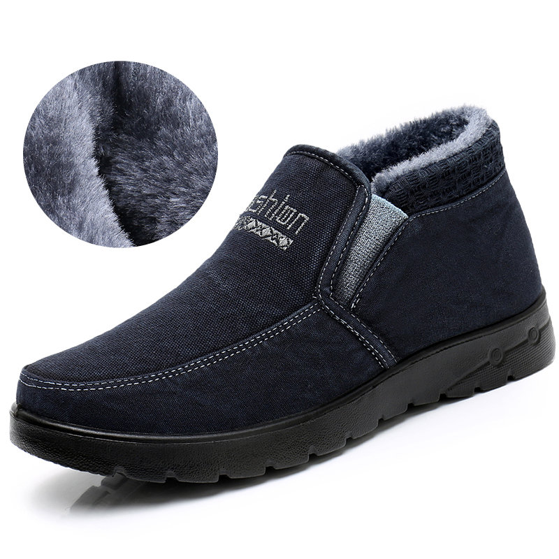 Men Old Peking Style Fabric Warm Lining Slip On Casual Ankle Boots
