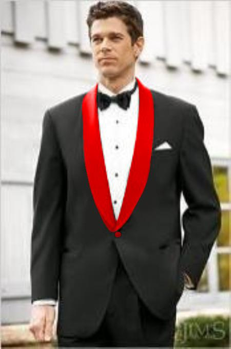 Mens Black Suit Single Breasted Red Shawl Lapel