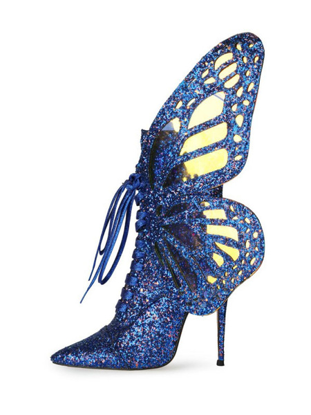 Milanoo Women Ankle Boots Sequined Cloth Blue Butterfly Pointed Toe High Heeels Short Boots