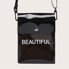 Clear Letter Graphic Crossbody Bag