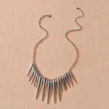 1pc Studded Tassel Charm Necklace