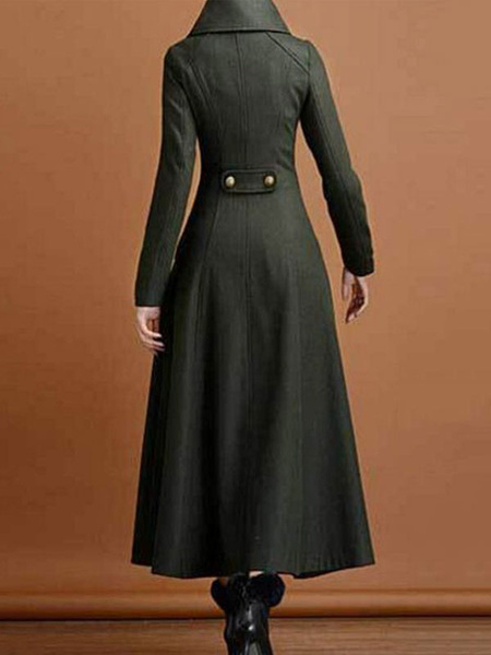 Milanoo abrigo mujer verde cazador con manga larga con escote alto Terciopelo de Corea Color liso con botones de talla muy grande Normal estilo inform