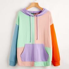 Pocket Front Drop Shoulder Colorblock Pullover
