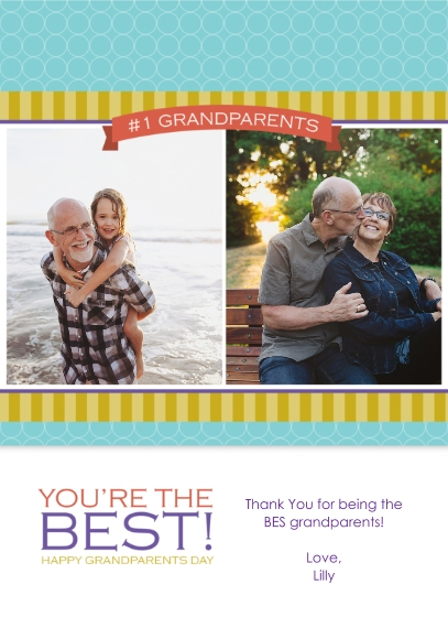 Grandparent's Day 5x7 Cards, Premium Cardstock 120lb with Rounded Corners, Card & Stationery -#1 Grandparents