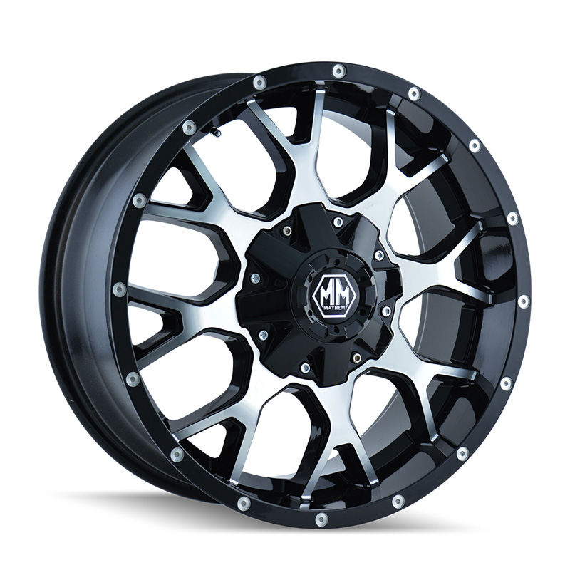 Mayhem Warrior 8015 Black | Machined Face 18x9 8x180 18mm 124.1mm Wheel