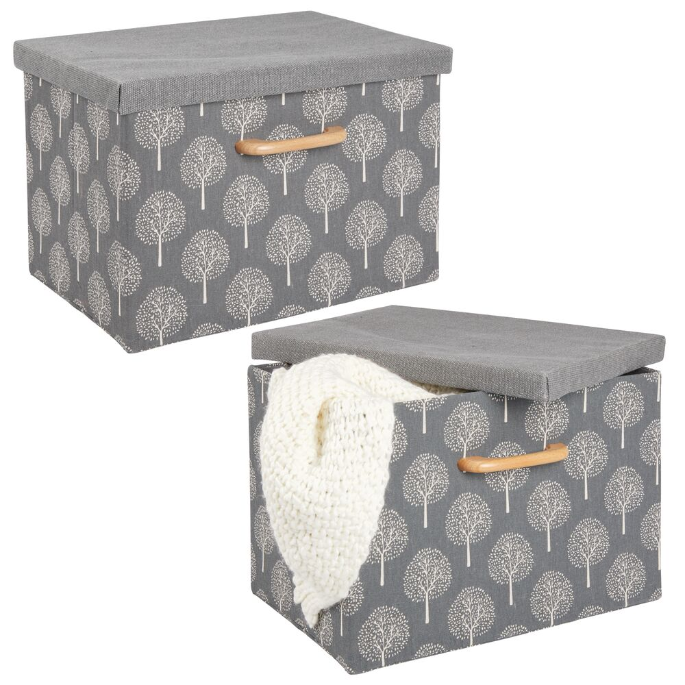 Large - Fabric Cube Home Storage Box, Closet Organizer in Gray, 10.25