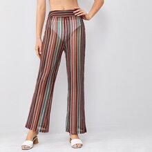 Sheer Striped Elastic Waist Flare Leg Pants