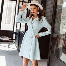 Double Button Plaid Blazer Dress