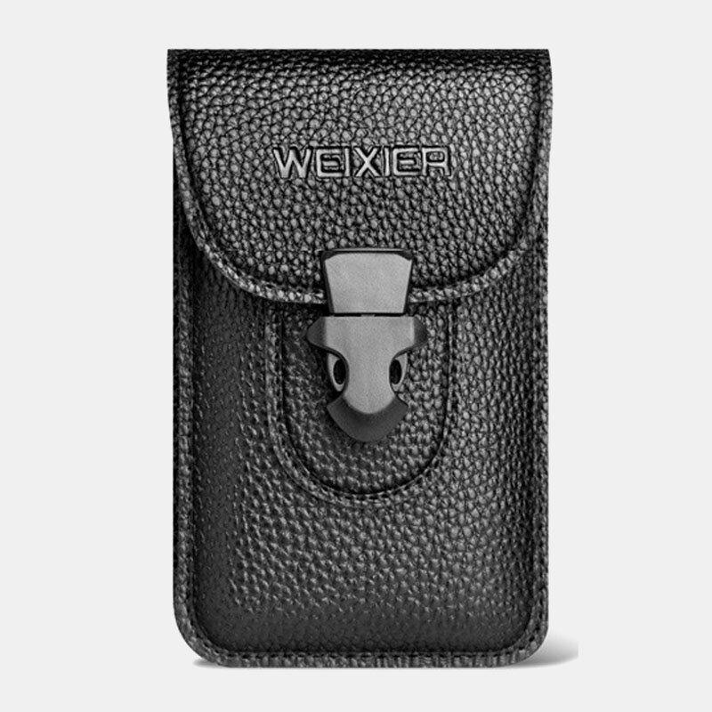 Men EDC Leather 6.5 Inch Phone Bag Waist Belt Bag Wallet