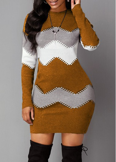 Women'S Brown Chevron Pattern Long Sleeve Mock Neck Sweater Dress Long Sleeve Sheath Cocktail Party Mini Dress By Rosewe - XXL
