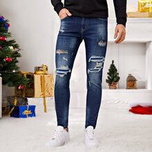 Men Ripped Cat Whiskers Skinny Jeans