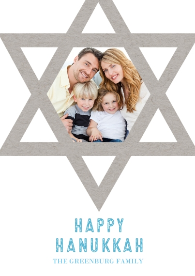 Hanukkah Photo Cards 5x7 Cards, Premium Cardstock 120lb with Rounded Corners, Card & Stationery -Star Of David Frame