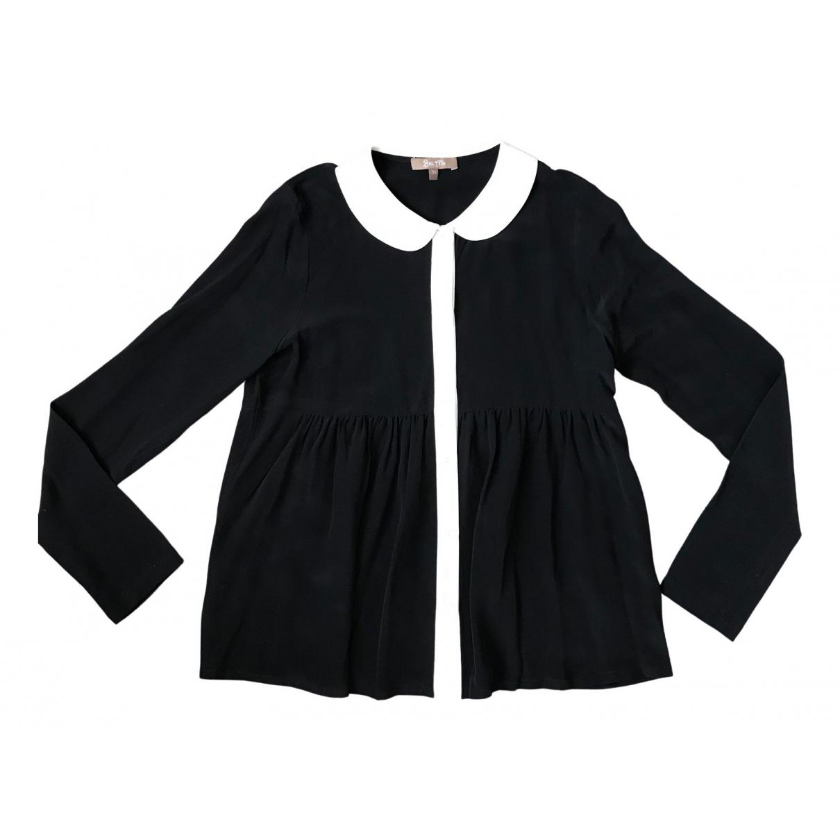 Bel Air - Top   pour femme en soie - noir