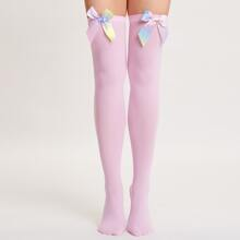 Bow Decor Over The Knee Socks